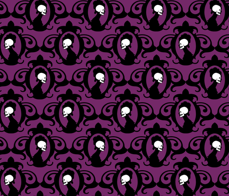 Flourish Aubergine fabric by thirdhalfstudios on Spoonflower - custom fabric