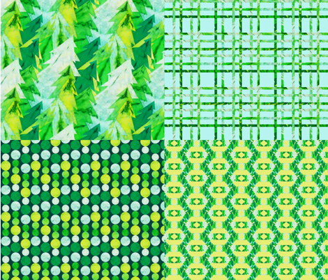 Paper Mache Evergreens fabric by angelray on Spoonflower - custom fabric