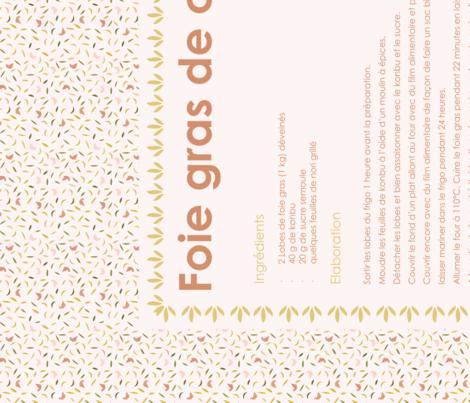 Foie Gras Recipe Tea Towel fabric by natasha_k_ on Spoonflower - custom fabric