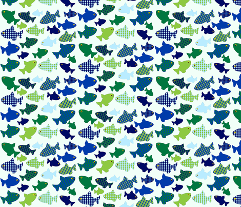 fish n fish blues-n-greens fabric by amy_frances_designs on Spoonflower - custom fabric