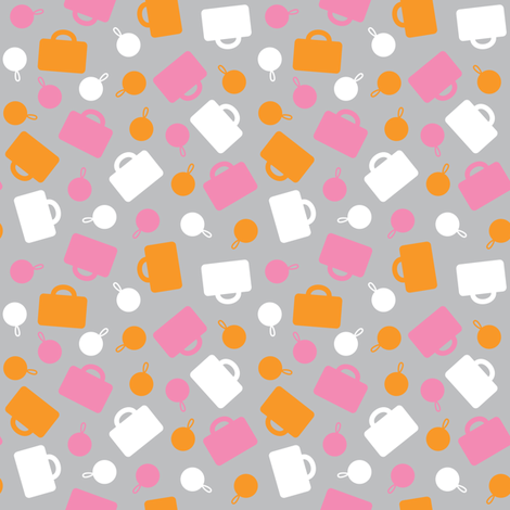 Pink Luggage Ditsy fabric by modgeek on Spoonflower - custom fabric