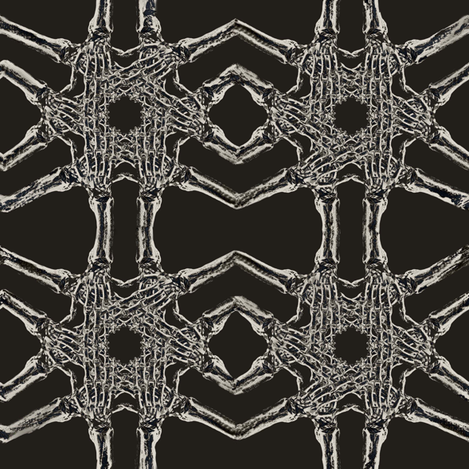 skeleton hand pattern black fabric by susiprint on Spoonflower - custom fabric