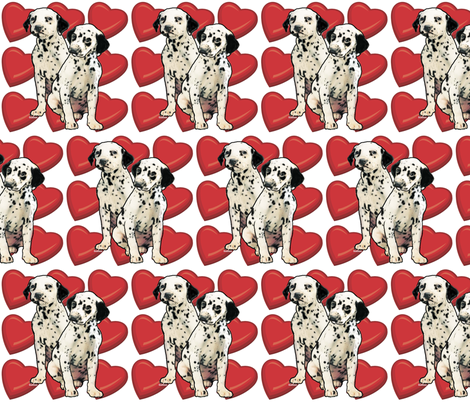 Dalmatian Puppy Love fabric by dogdaze_ on Spoonflower - custom fabric