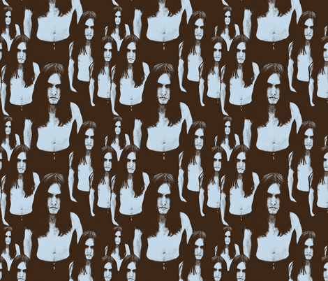 Black Metal Dudes brown light blue fabric by susiprint on Spoonflower - custom fabric