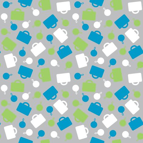 Blue Luggage Ditsy fabric by modgeek on Spoonflower - custom fabric