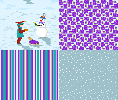 clown_boy_snowman_dog_4in1_C fabric by khowardquilts on Spoonflower - custom fabric
