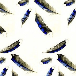 Watercolor Blue Jay Feathers