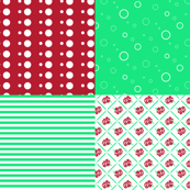 vintage red and green coordinates on one fat quarter