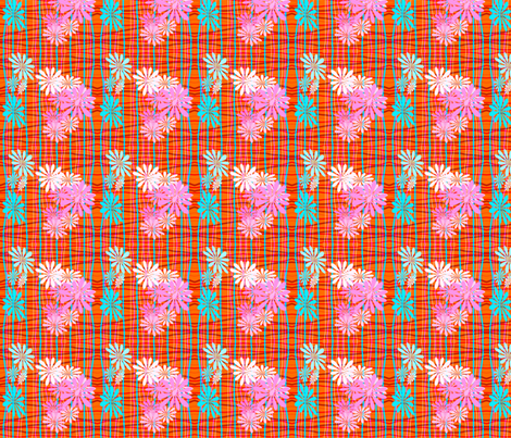 Orange Plaid & Flowers fabric by mammajamma on Spoonflower - custom fabric