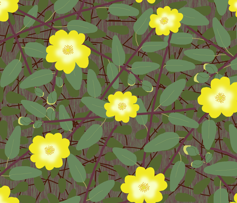Buttercups on a bush - Hypericum Hidcote fabric by victorialasher on Spoonflower - custom fabric