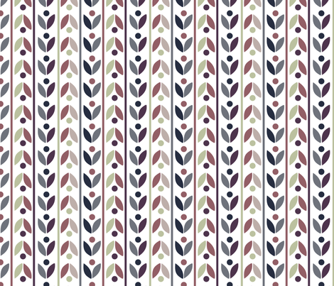 Retro Flower Stripes fabric by demigoutte on Spoonflower - custom fabric