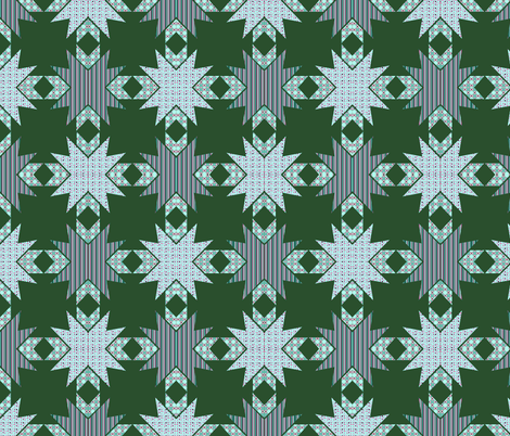 Kaleidoscope Diamonds In Greens  fabric by dogdaze_ on Spoonflower - custom fabric