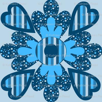 Blue floral hearts kaleidoscope