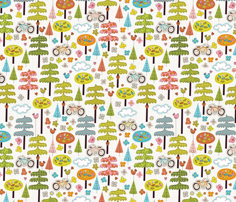 It's a Handmade World: Ride a Bike, Hug a Tree fabric by cynthiafrenette on Spoonflower - custom fabric