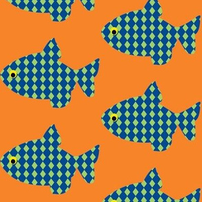 fish a float -blue fish orange