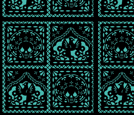 Papel Picado black on turquiose ground fabric by thirdhalfstudios on Spoonflower - custom fabric