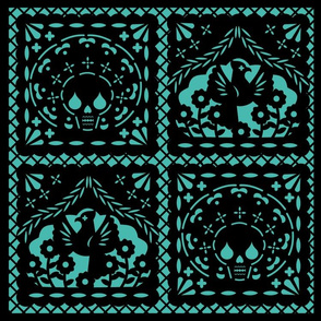 Papel Picado black on turquiose ground
