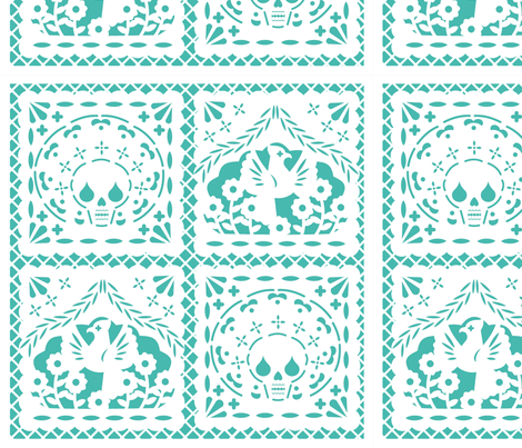 Papel Picado white on turquoise ground fabric by thirdhalfstudios on Spoonflower - custom fabric