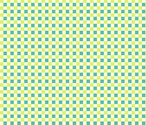 Cream teal check fabric by demouse on Spoonflower - custom fabric