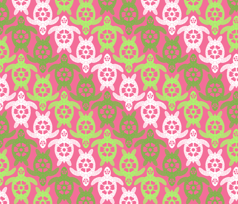 Turtles - Pink and Green Diagonal Stripes
