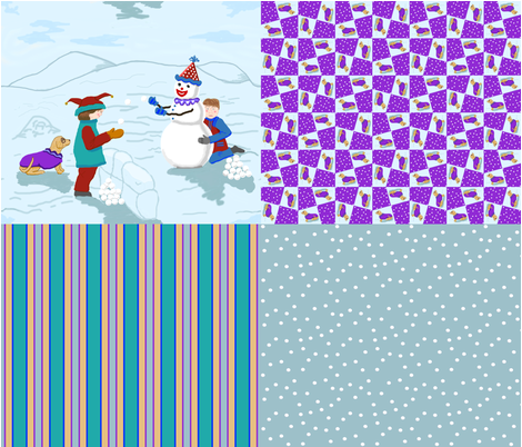 clowns_boys_snowman_dog_4_in_1_D fabric by khowardquilts on Spoonflower - custom fabric