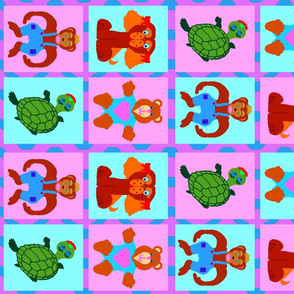BabyQuilt Coordinates Critter Focal squares