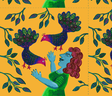 Woman_Peacocks fabric by yellowstudio on Spoonflower - custom fabric