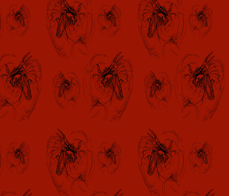 Fire Dragon, Red, Black Pillow Design fabric by mariannemathiasen on Spoonflower - custom fabric