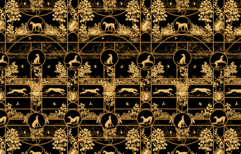 Autumn Greyhounds Black ©2011 by Jane Walker fabric by artbyjanewalker on Spoonflower - custom fabric