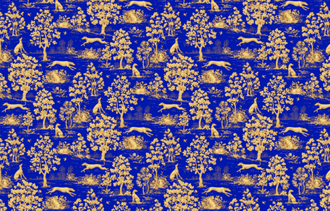 Blue Harvest Greyhound Toile ©2011 by Jane Walker fabric by artbyjanewalker on Spoonflower - custom fabric