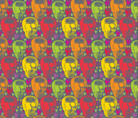 multicoloured skulls on dark grey background. fabric by susiprint on Spoonflower - custom fabric