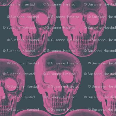 Pink skulls on dark grey background.