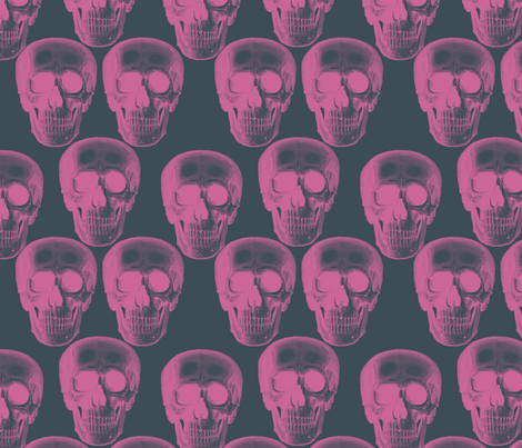 Pink skulls on dark grey background.
