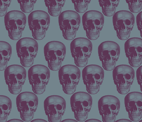 Dark skulls on dark background fabric by susiprint on Spoonflower - custom fabric