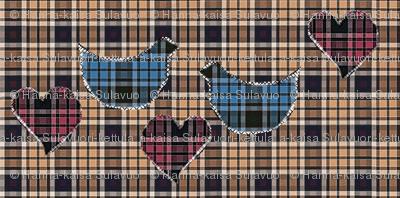 blue tartan birds, beige tartan fabric, pink tartan hearts quilt