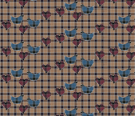 blue tartan birds, beige tartan fabric, pink tartan hearts quilt fabric by vinkeli on Spoonflower - custom fabric
