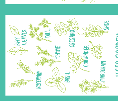 Herb Tea Towel (white) fabric by wildflowerbee on Spoonflower - custom fabric