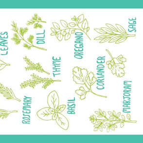 Herb Tea Towel (white)