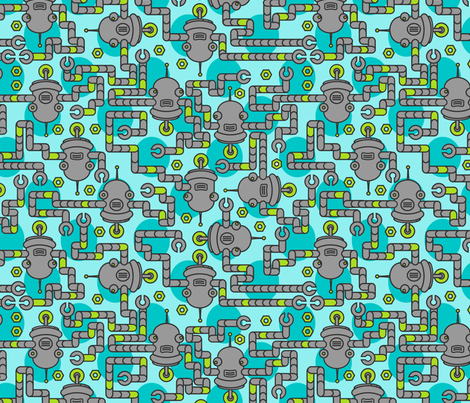 Robots on Pool Blue fabric by thirdhalfstudios on Spoonflower - custom fabric