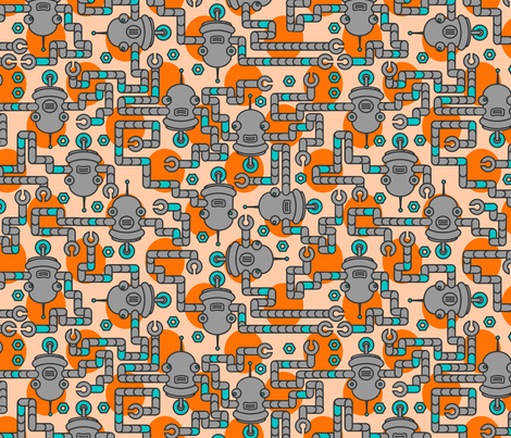 Robots on Sunrise fabric by thirdhalfstudios on Spoonflower - custom fabric
