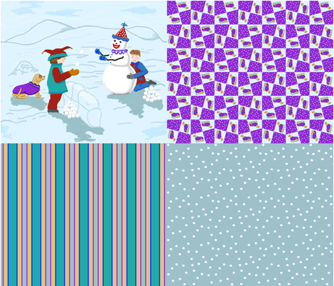 clown_boy_snowman_dog_4_in_1_E fabric by khowardquilts on Spoonflower - custom fabric