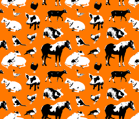Farm Animals (Orange) fabric by primenumbergirl on Spoonflower - custom fabric