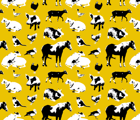Farm Animals (Yellow) fabric by primenumbergirl on Spoonflower - custom fabric