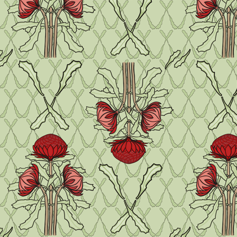 Waratahs and crossed leaves on green fabric by su_g on Spoonflower - custom fabric