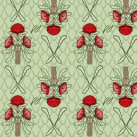 Waratahs and crossed leaves on green by Su_G fabric by su_g on Spoonflower - custom fabric