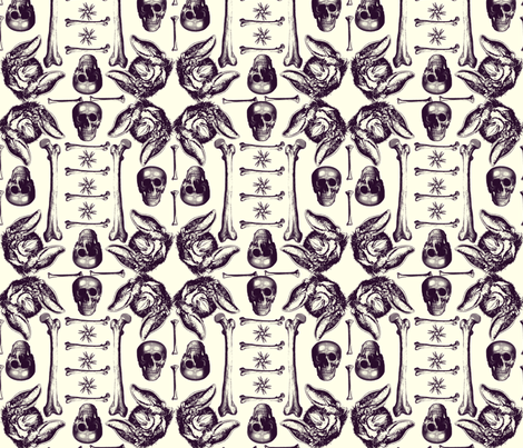 Skulls,bones,bats on white. fabric by susiprint on Spoonflower - custom fabric