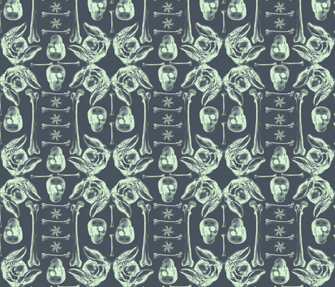 Bones,skulls and bats. fabric by susiprint on Spoonflower - custom fabric