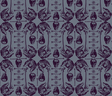 bats,bones and skulls. fabric by sydama on Spoonflower - custom fabric