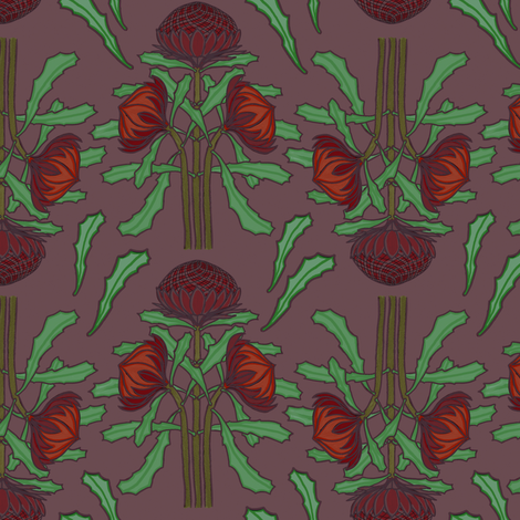 Darker waratahs fabric by su_g on Spoonflower - custom fabric