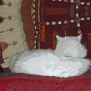 Louie-Louie, #1 Cat on Gujarati Pillows
